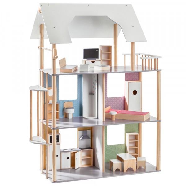 howa Puppenhaus für Ankleidepuppen bis 30 cm incl. 19 tlg. Möbelset aus Holz