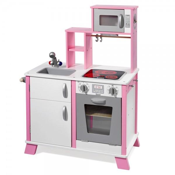 """Spielküche """"Chefkoch"""" aus Holz mit LED-Kochfeld weiß/rosa 48204"""