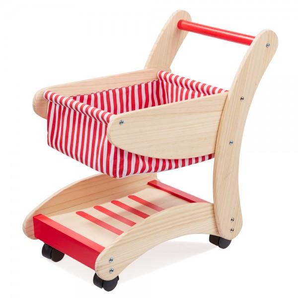 howa Einkaufswagen für Kinder aus Holz natur / rot