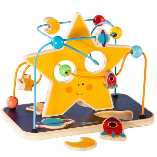 "howa Motorikspielzeug Motorikschleife mit Puzzle Holz ""space fun"""