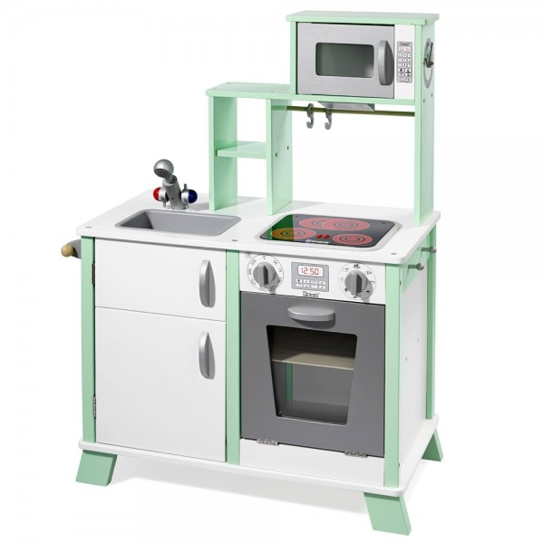 """Spielküche """"Chefkoch"""" aus Holz mit LED-Kochfeld weiß / grün 48203"""