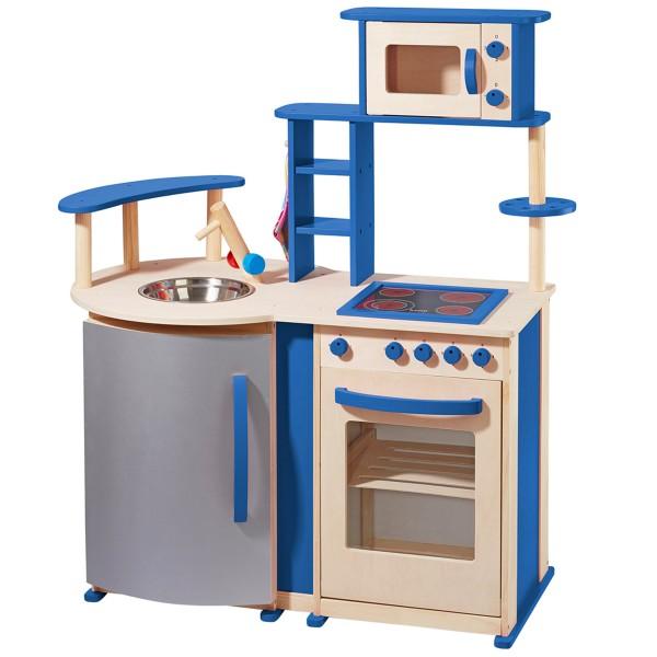 howa Spielküche mit vielen Details aus Holz natur/blau