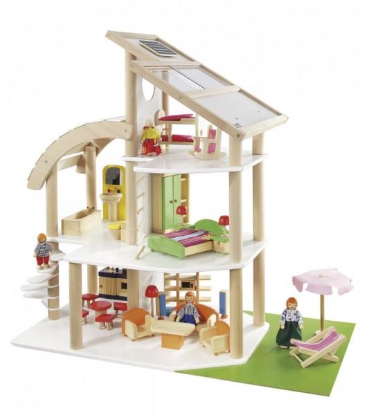 Strandvilla inkl. 30 tlg. Möbelset und 4 Puppen 7014