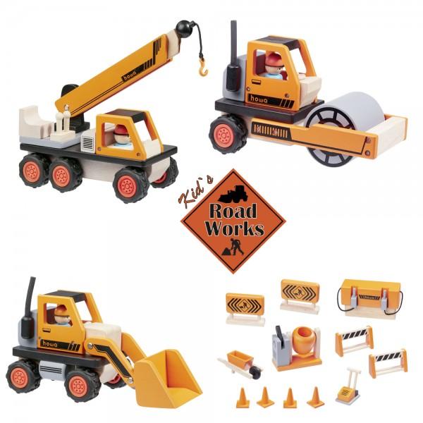 howa Baustelle mit Radlader, Autokran, Straßenwalze und 12 tlg. Baustellenzubehör