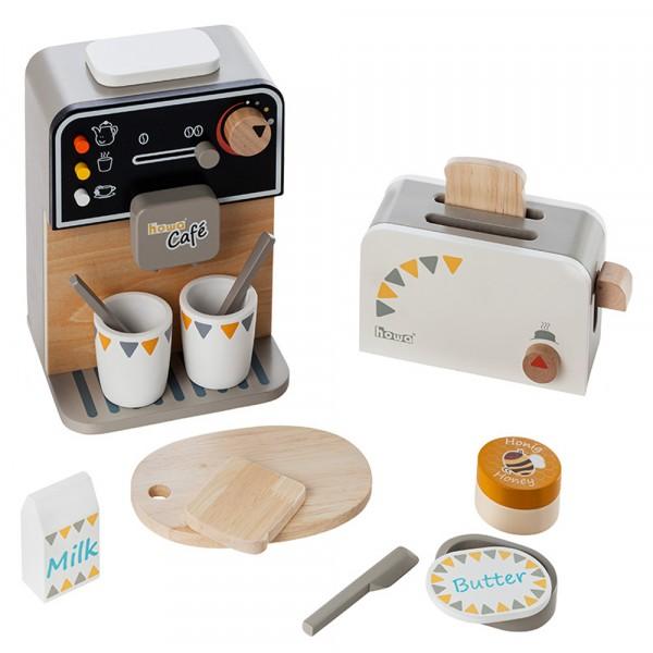 howa Kaffeemaschine und Toaster aus Holz incl. 13 tlg. Zubehör 4887