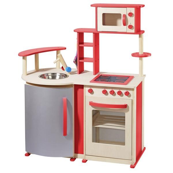 Spielküche mit vielen Details aus Holz natur/rot 48132